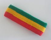 Green yellow red rasta color stripe terry headband for sweat