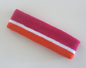 Hot pink white orange striped terry headband for sports sweat