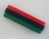 Red navy green striped terry sport headband for athletic sweat