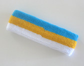 Bright sky blue golden yellow white stripe terry sport headband