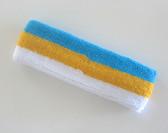 Bright sky blue golden yellow white stripe terry sport headband
