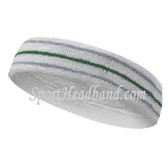 Skyblue green sky blue line in white tennis headband terry cloth
