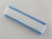 White with light sky blue trim headbands sports pro