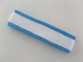 White with bright sky blue trim headbands sports pro