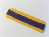 Yellow Purple with blue lines basketball headband pro
