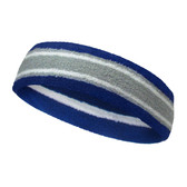 Blue silver light gray with white lines basketball headband pro