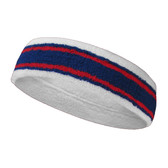 White blue with dark red lines basketball headband pro