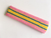 Pink yellow with blue lines basketball headband pro