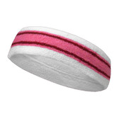 White pink with red lines basketball headband pro