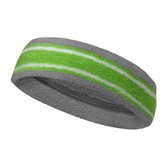 Silver gray lime green with white lines basketball headband pro