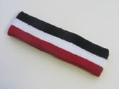 Black white red striped headband sports pro