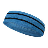 Bright sky blue basketball headband pro with 2 black stripes