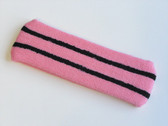 Pink basketball headband pro with 2 black stripes