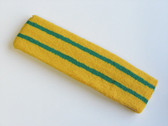 Yellow basketball headband pro with 2 green stripes