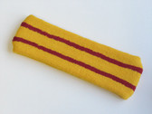 Yellow basketball headband pro with 2 red stripes