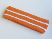 Orange basketball headband pro with 2 white stripes