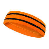 Orange basketball headband pro with 2 black stripes