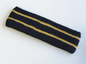 Navy basketball headband pro with 2 gold stripes