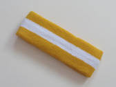 Golden yellow white golden-yellow striped terry sport headband