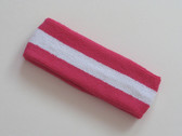 Hot pink white hot-pink striped terry sport headband for sweat