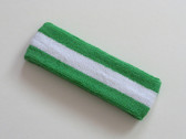 Bright green white bright-green striped terry sweat headband