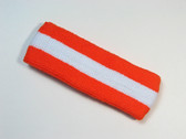 Dark orange white dark-orange striped terry sport headband