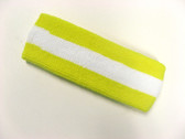 Bright yellow white bright-yellow striped terry sport headband