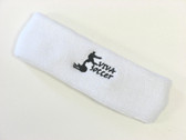 White custom sport head band sweat terry