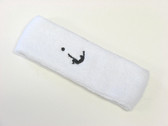 White custom head band sports sweat terry