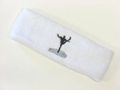 White custom sports head band sweat terry