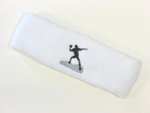White custom sports headband sweat terry