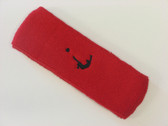 Red custom head band sports sweat terry