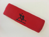 Red custom sport sweat headbands terry