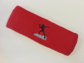 Red custom sports headband sweat terry