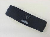 Navy custom sports head band sweat terry