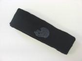 Black custom sport sweat head band terry