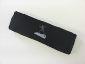 Black custom sports headband sweat terry