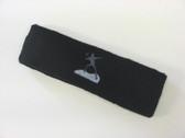 Black custom sports headband sweat terry