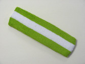 Lime green white lime green striped terry sport headband for swe