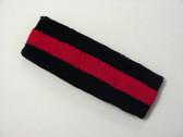 Black red black striped terry sport headband for sweat