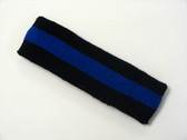 Black blue black striped terry sport headband for sweat