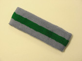 Steel blue green steel-blue striped terry sport headband for swe