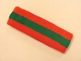 Dark orange green dark-orange striped terry sport headband for s