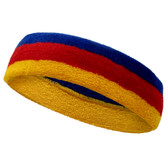 Golden yellow red blue striped headband sports pro