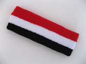 Black white red stripe terry sport headband for sweat
