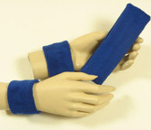Blue headband wristband set for sports sweat