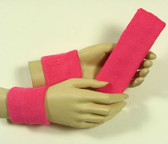 Bright pink headband wristband set for sports sweat