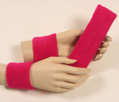 Hot pink headband wristband set for sports sweat