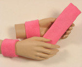 Pink headband wristband set for sports sweat