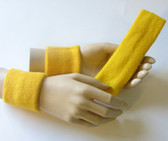 Yellow headband wristband set for sports sweat
